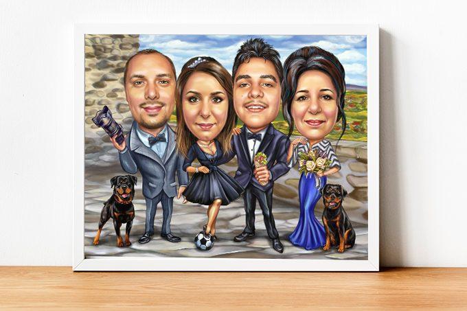 Карикатура по снимка, 4 лица, 2 кучета