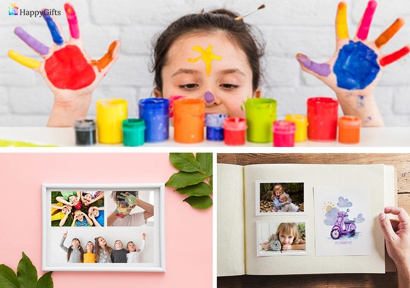подарък госпожа детска градина албум със спомени колаж от снимки на децата в детската градина ръчно нарисувана картина
