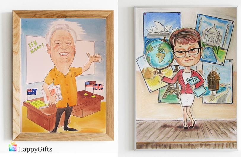 пастелна акварелна карикатура за учетел учителка професия