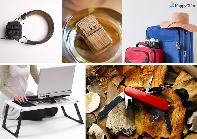 слушалки швейцарско ножче флашка куфари масичка за лаптоп