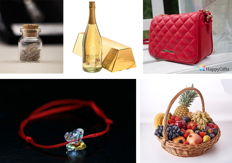 златно шампанско дизайнерска чанта кошница с плодове гривна против уроки
