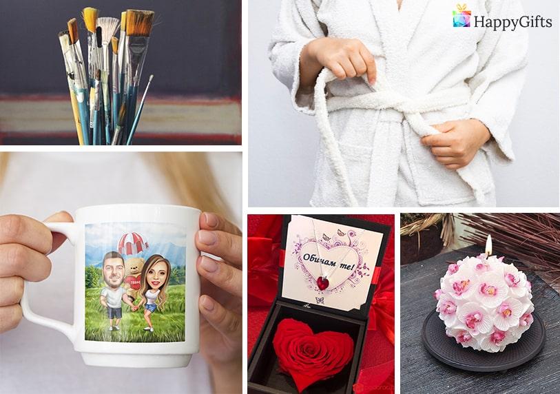 елегантни подаръци за любимата жена ароматна свещ четки за рисуване спа чаша с карикатура по снимка