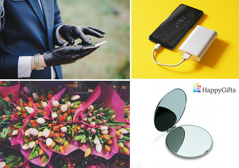 малки изненади за жена ръкавици външна батерия огледало букет красиви цветя
