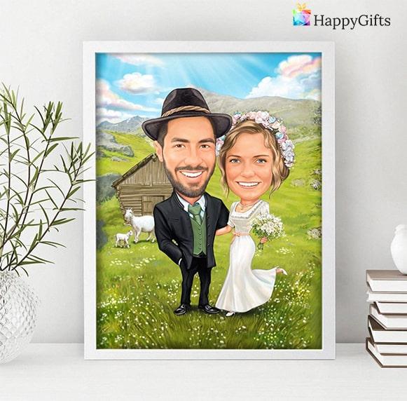 карикатура за младоженци