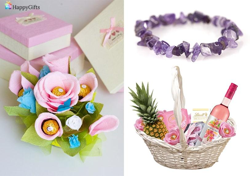 кошница с изненади алкохол и плодове гривна с камъни букет от бонбони