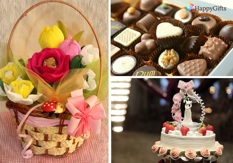 сладки вкусни изненади бонбони торта кошница с плодове