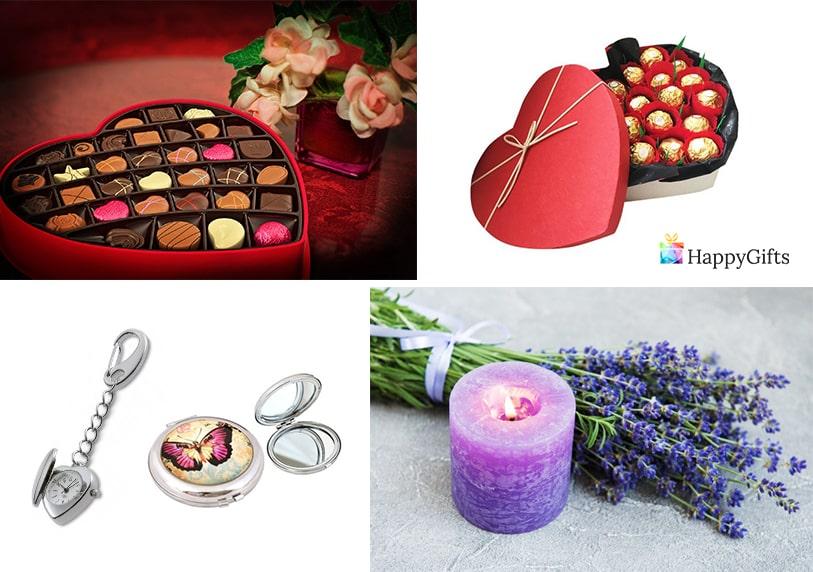 Стилни подаръци за 8 март свещ бонбони огледалце