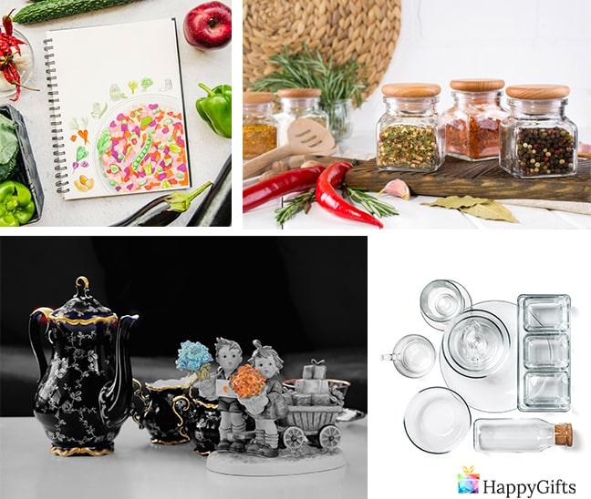 подаръци за домакини сервиз за чай подправки книга с рецепти