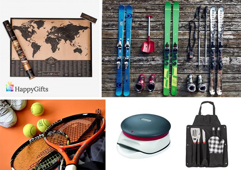 подарък за млад дядо тенис ракета сет за барбекю ски скреч карта на света