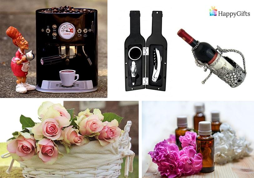 луксозни подаръци за юбилей комплект за вино цветя