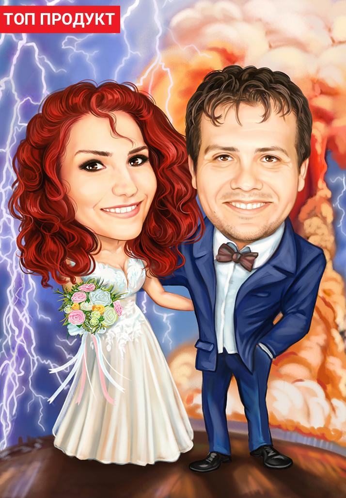 карикатура по снимка подарък за младоженци ергенско парти