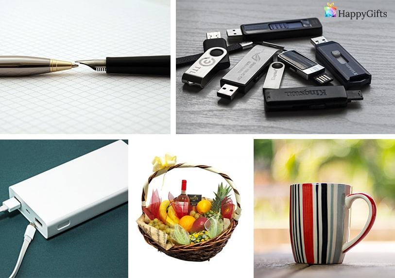 подарък за 10 годишен юбилей на фирма брандирани флашки чаши писалки кошница с плодове външна батерия