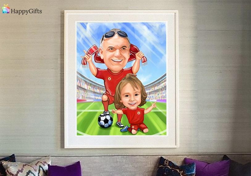 Дигитална карикатура за треньор по футбол на деца
