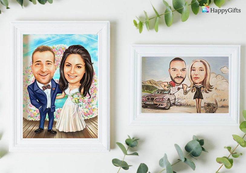 забавни карикатури по снимка от арт гифт сватбена карикатура за двойки