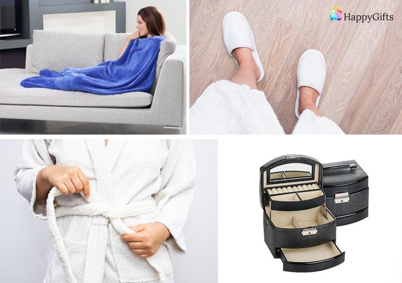 бюджетни подаръци за жена на 50 одеало чехли пантофи халат за баня кутия за бижута