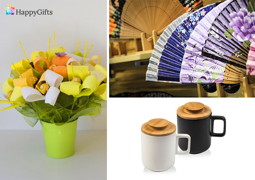 ефектни подаръци, чаши за кафе, ветрило