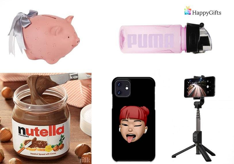 идея за евтин подарък за тинейджърка шоколад стикер за телефон статив запалка касичка