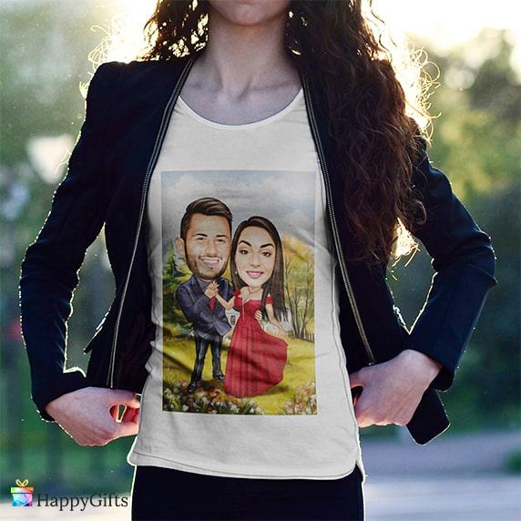 тениска с карикатура по снимка за момиче тинейджърка