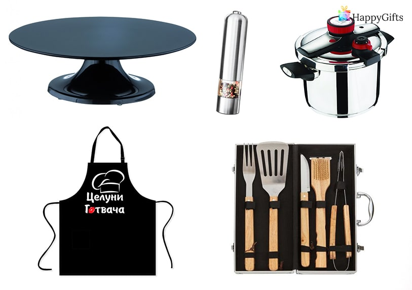 идеи за подарък на готвачка тенджера престилка комплект шпатули
