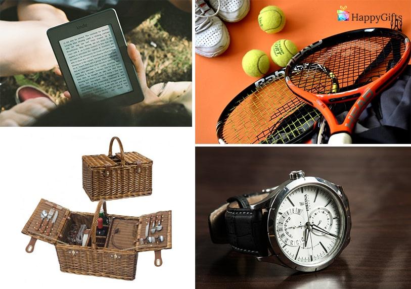 интересен подарък за 25 годишен юбилей на мъж електронен четец кошница за пикник часовник тенис ракета