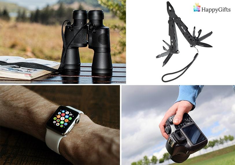интересен подарък изненада за мъж на 40 швейцарско ножче камера фотоапарат смарт часовник бинокал