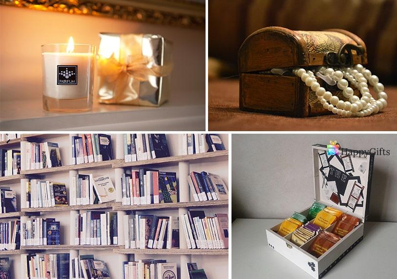 интересни подаръци за понсиониране на жена книга чай свещ бижу