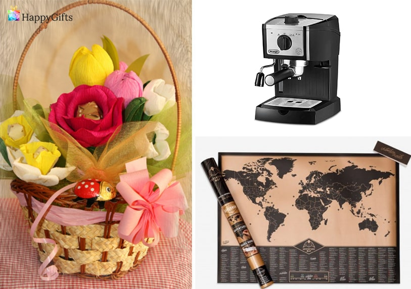 интересни подаръци за жена на 50 скреч карта на света кошница с букет от бонбони кафемашина