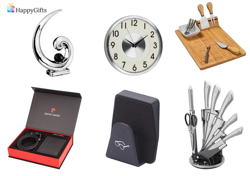 интересни подаръци за мъж на 70 или 80 кожен колан и портфейл ножове сет за сирена интересен часовник фигурка