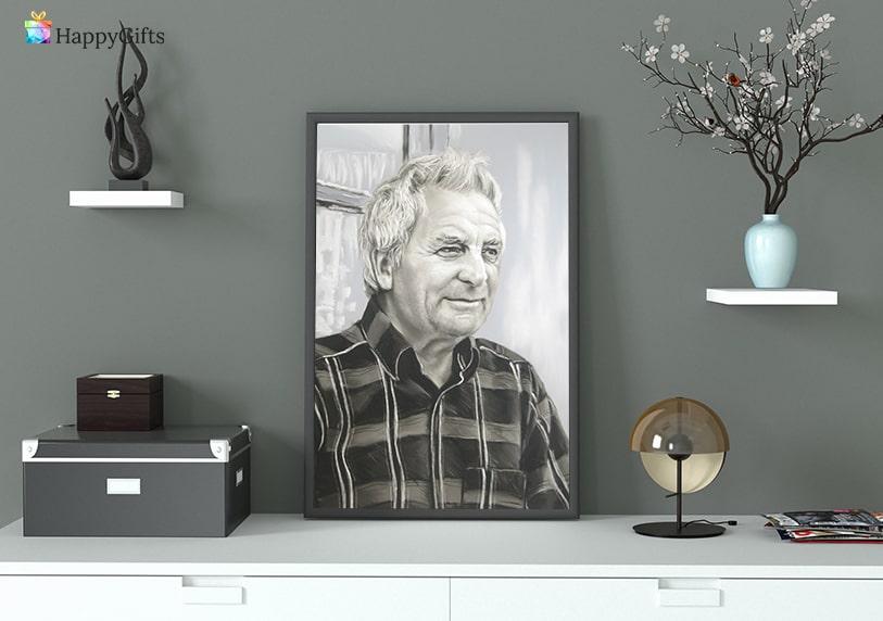 портрет по снимка подарък за мъж на 70 или 80 юбилей