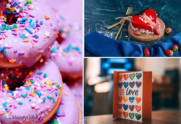 Как да изберем подарък за двойка; сладки, торта сърце, ръчно изработена картичка