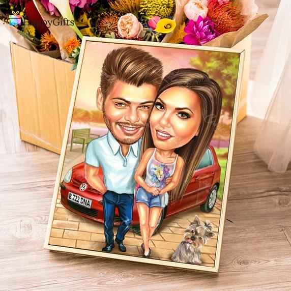 карикатура по снимка за двойка