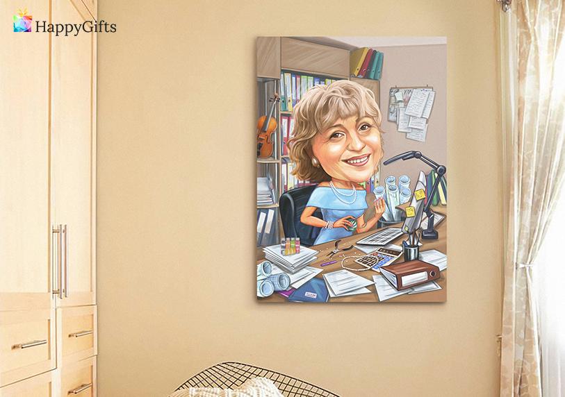 Подарък за рожден ден за жена 60 години; карикатура по снимка