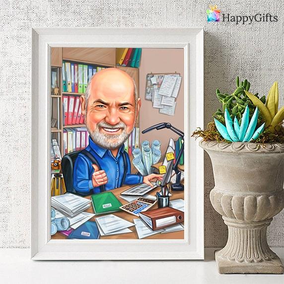 карикатура по снимка подарък за 60 годишнина на мъж