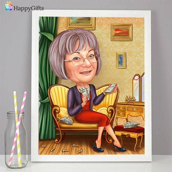 карикатура за жена на 70 оригинален подарък за рожден ден