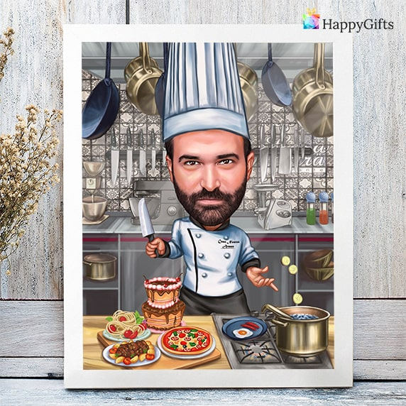 карикатура за готвач личен персонализиран подарък