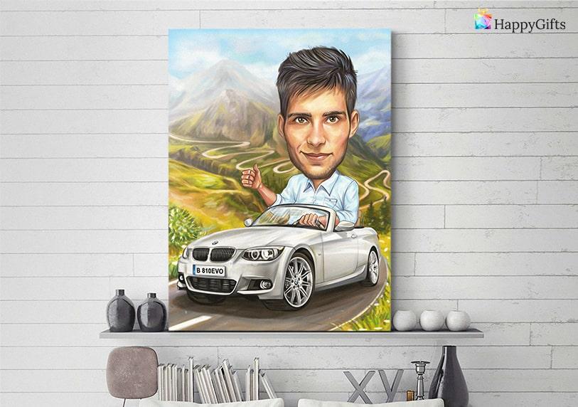 карикатура с кола подарък за млад шофьор