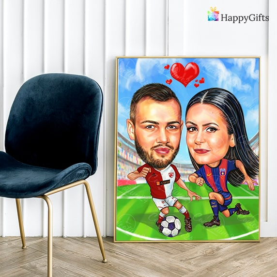 карикатура за свети валентин за футболни фенове