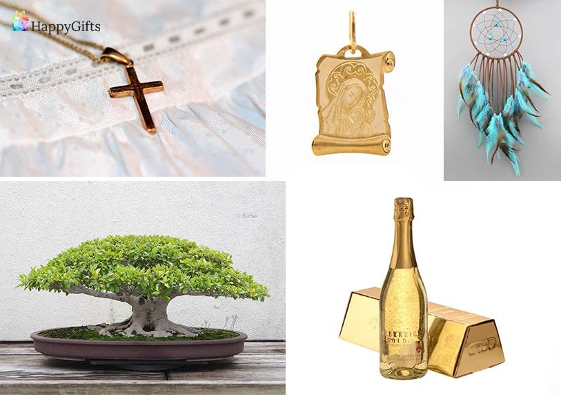 оригинален подарък за кръщене на възрастен златно шампанско бонсай икона кръстче капан за сънища