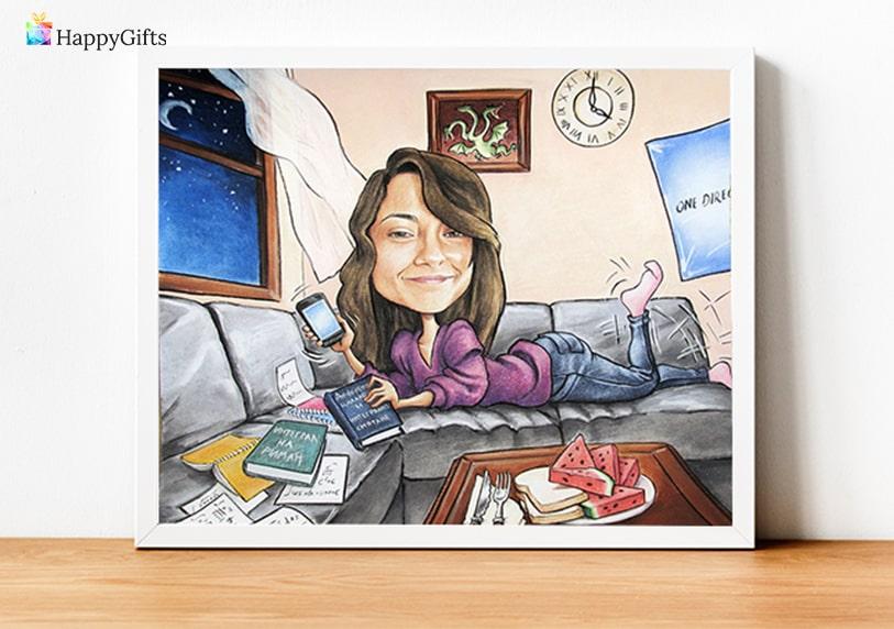 луксозна пастелна карикатура като подарък за жена на 20 или 25