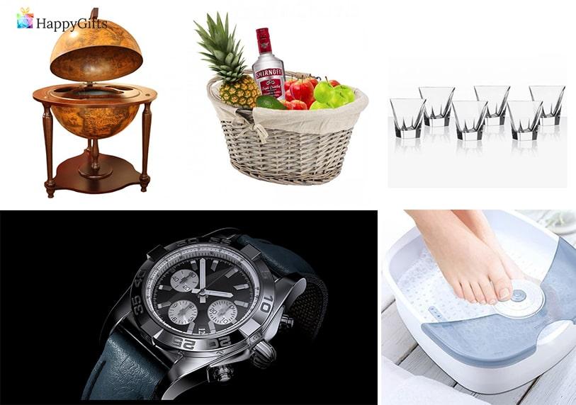луксозни подаръци за мъж на 70 или 80 часовник ваничка масажор за крака кошница с плодове