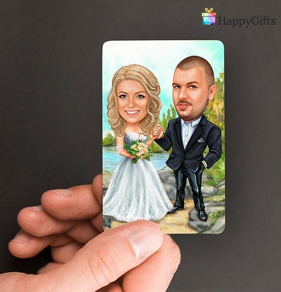 магнит с карикатура на младоженци подарък за гостите