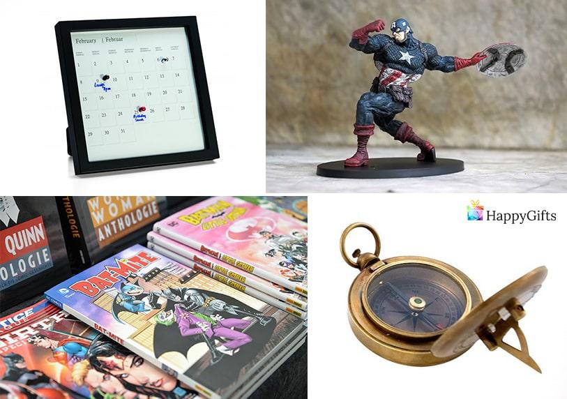 нескандартни подаръци за гадже момче фигурка на любим герой календар компас комикс