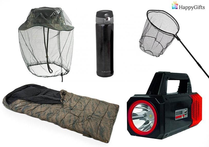 нестандартни подаръци за риболовец фенер термос кеп спален чувал