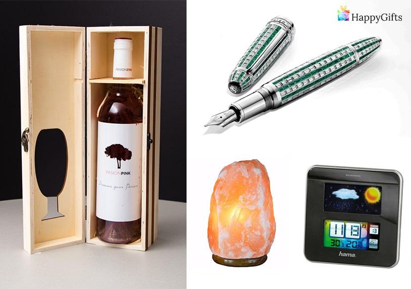 Нестандартни подаръци за жена на 50 бутилка скъпо вино писалка лампа кристал календар