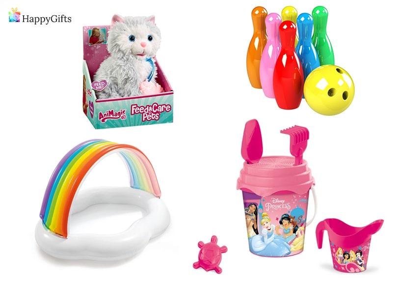 оригинални идеи за подаръци на момиче на една годинка кофичка с лопатка играчка коте басеин надуваем боулинг кегли