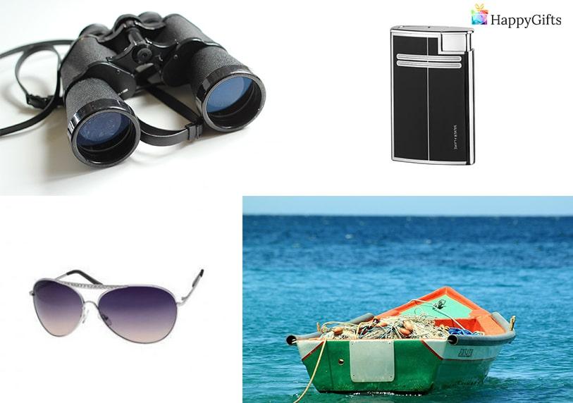 оригинални подаръци за мъж риболовец бинокъл лодка запалка очила