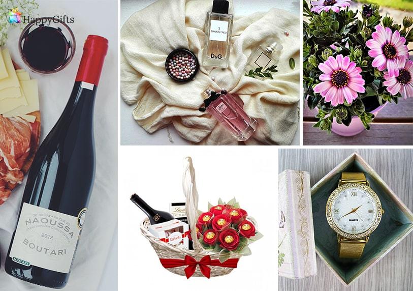 оригинални подаръци за пенсиониране на жена кошница с бонбони вино чаовник с послание парфюм цветя