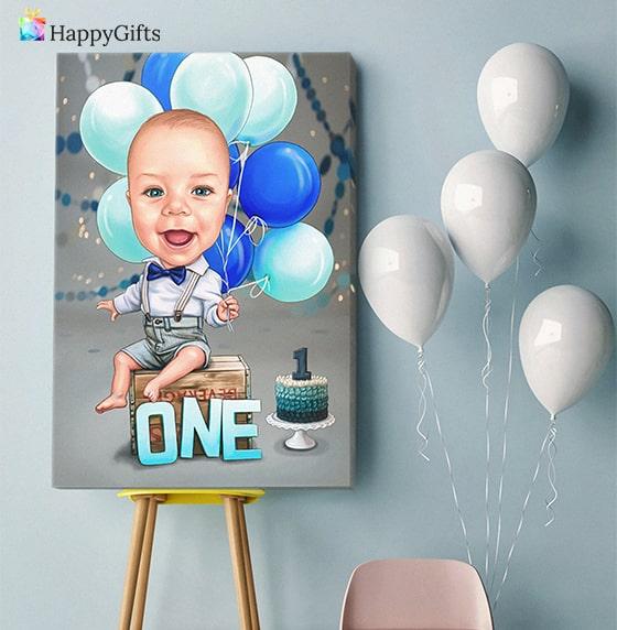 интересен подарък за първи рожден ден на момченце карикатура по снимка