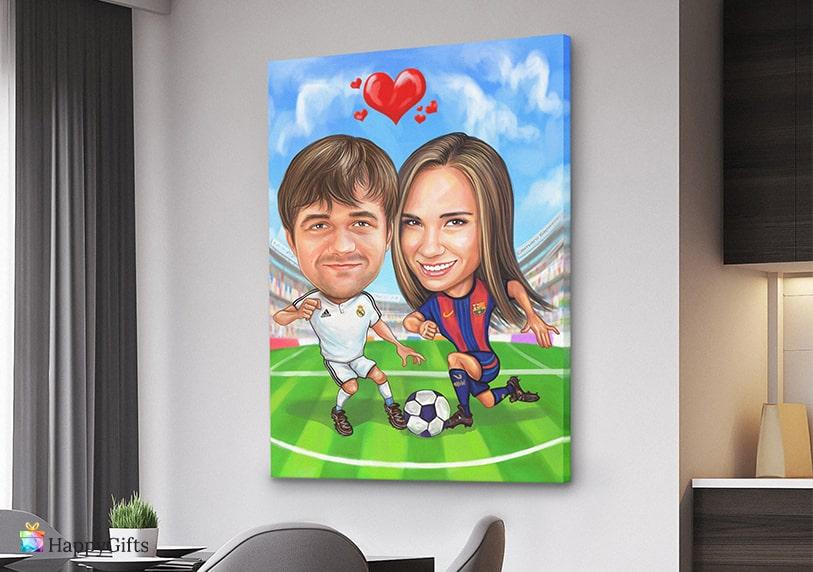 оригинална идея за подарък за футболен фен забавна карикатура по снимка