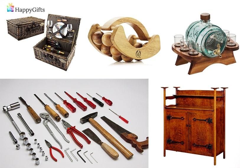 оригинални подаръци за мъж на 70 или 80 буренце за вино масажор кошница за пикник инструменти
